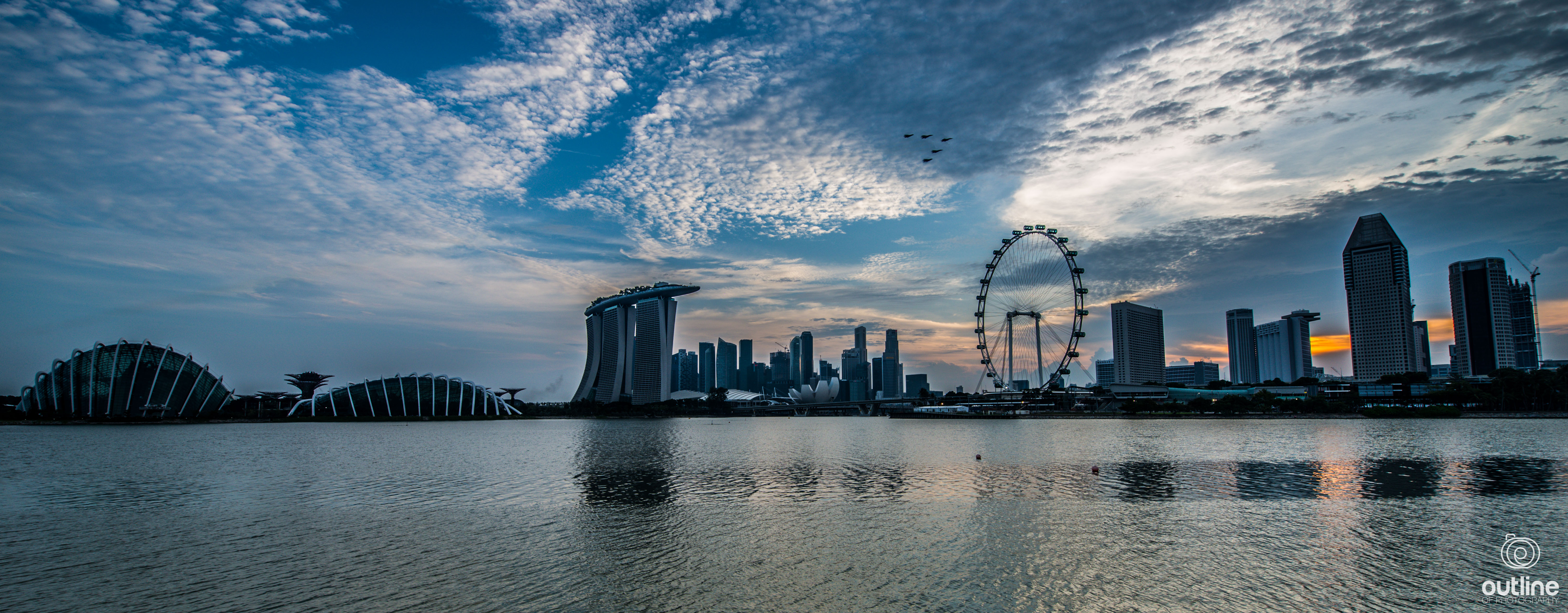 Garden By The Bay East Firework singapore national day parade 2014 - rehearsals - outline of