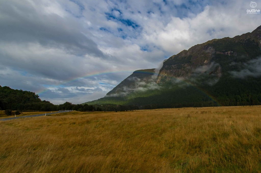 Greeted by a rainbow, Fiordland national park, New Zealand