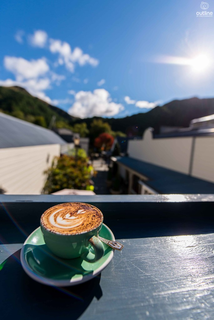 Sipping coffee, Chop Shop, Arrowtown, Queenstown, New Zealand