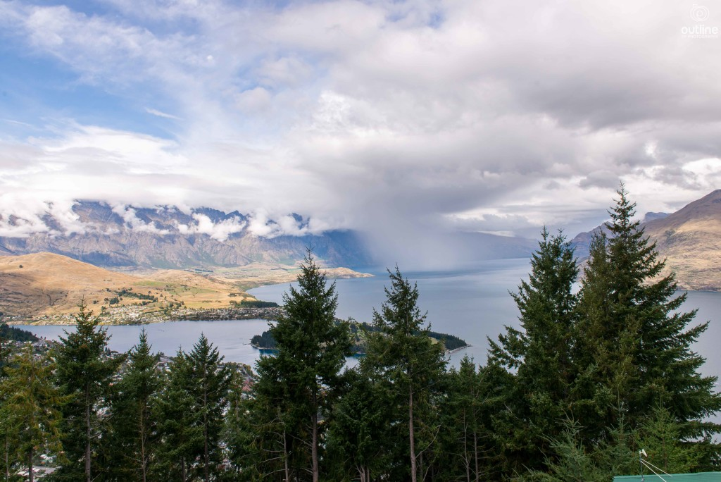 Raining in the middle of the Lake, Queenstown, New Zealand