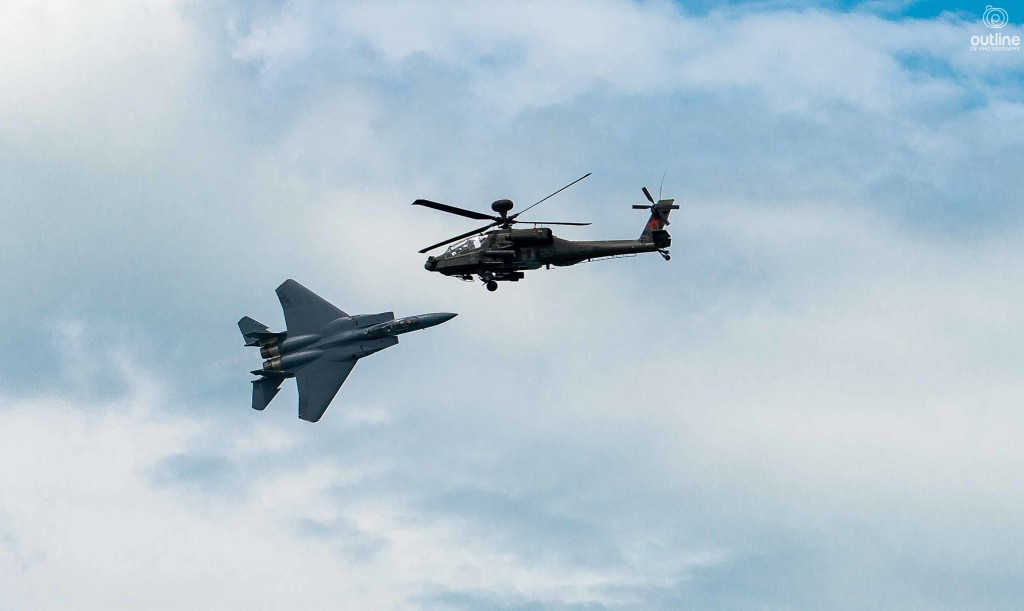 Boeing F15 Strike Eagle and Boeing Apache, Singapore Airshow 2016